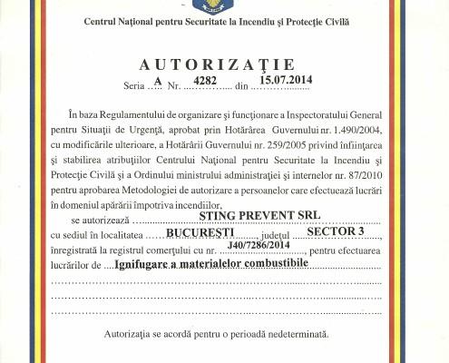 Autorizatie Ignifugare